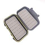 ANCLLO Caja de pesca con mosca a dos caras impermeable ligera caja de mosca fácil agarre tapa mosca pesca señuelos caja