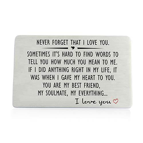 Regalo de aniversario para hombres o mujeres – nunca olvides que te amo, billetera grabada para novio, marido, él; tarjetas de regalo de boda de cumpleaños para parejas