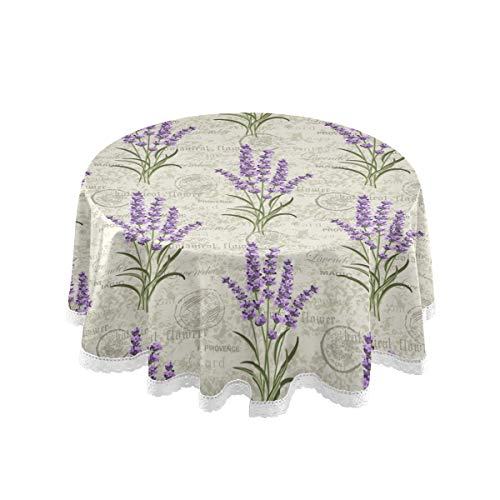 Pfrewn Floral Lavenders Vintage Round Tablecloth Flowers Daisy Table Cloth Cover Mat Lace Washable Polyester 60' Dining Decorative for Holiday Home Party Wedding Picnic