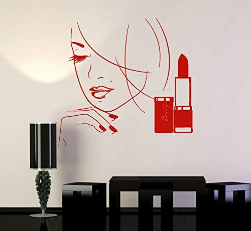 yaonuli Wandtattoo Make-up Shop schöne Frau Lippenstift Schönheitssalon Dekoration Vinyl Aufkleber 85X85cm