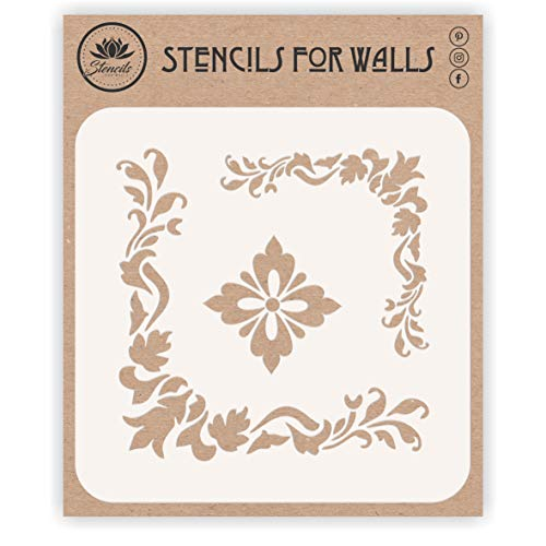Accent Corners Stencil, 6.5 x 6.5 inch (M) - Classic Flower Corner Design Stencils Template for Painting