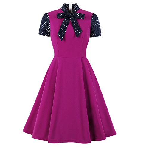 N\P Vestito estivo da donna sembra sottile, colore a contrasto Bow elegante vestito Rosso M