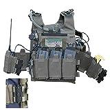 Dittzz Taktische Weste, Multifunktional Molle Weste mit Taschen für CS, Airsoft, Paintball,...