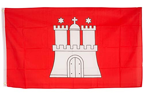 SCAMODA Bundes- und Länderflagge aus wetterfestem Material mit Metallösen (Hamburg) 150x90cm