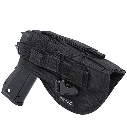 KWNRAOR Molle Pistol Holster, Glock Holster Universal Pistol Holster for S&W M&P Shield Glock 1911 45 92 96. (Black)