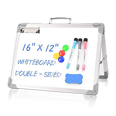 """Small White Board Dry Erase Board - 12"""" x 16"""" Double Sided Desktop Foldable Magnetic Whiteboard with Markers and Magnets Personal Easel for Kids Drawing Home and Office (White)"""