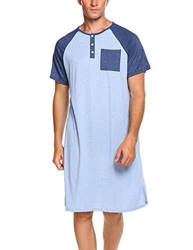 Meaneor Herren Nachthemd Einteiliger Schlafanzug Nachtwäsche Schlafkleid Kurzarm Lang Baumwolle Schlafshirt für Männer Sommer Blau XXL