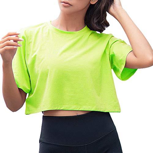 Artfish Women Short Sleeve Crewneck Comfy Loose Crop Top Teen T-Shirt Solid Neon Green, XS