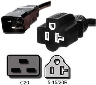 IEC C20 to NEMA 5-15/20R Plug Adapter, 1 ft, 20A/125V 12 AWG - Iron Box #IBX-8001