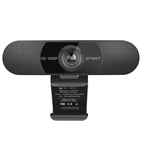 eMeet Full HD Webcam - C960 1080P Webcam mit Dual Mikrofon, 90 ° Weitwinkel Streaming Kamera mit automatischer Lichtkorrektur, Plug & Play, für Linux, Win10, Mac OS X, YouTube, Skype, zum Konferenz