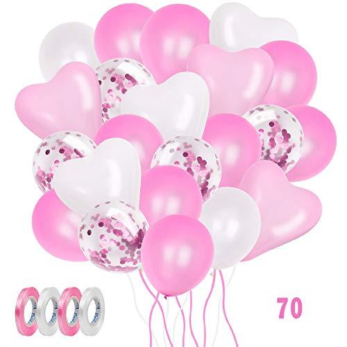 ZWOOS Palloncini Rosa, 70Pcs Palloncini Compleanno Decorazioni Compleanno, Palloncini Coriandoli, Palloncini Rosa e Bianch per Festa, Matrimonio Anniversario, Battesimo Bimba