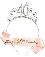 RosewineC - Juego de 40 lazos con corona de diamantes de imitación y cinta de cumpleaños, regalo para decoraciones de fiesta de cumpleaños 40