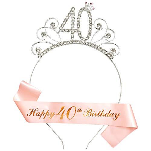 """cappello 40 anni compleanno 40 Anni di Compleanno Donna Tiara Birthday Corona 40 Compleanno Glitter Bianca """"Happy 40th Birthday"""" per Feste di Compleanno o Torte di Compleanno Decorazioni"""