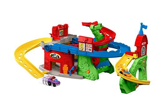 Fisher-Price Little People Nouvelle Tour des Spirales 2-en-1 jouet enfant transformable en circuit découverte de la ville à l'horizontale, 2 voitures incluses, 12 mois et plus, DFT71