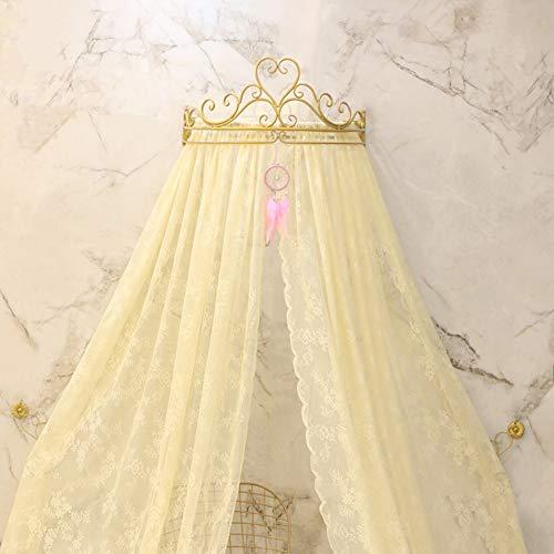 GE&YOBBY Dosel De Lecho De Encaje,Corona Princesa Cortina De La Cama Mosquitera De La Cancha con Corona Decorativa De Metal De Drapery para El Dormitorio-Amarillo