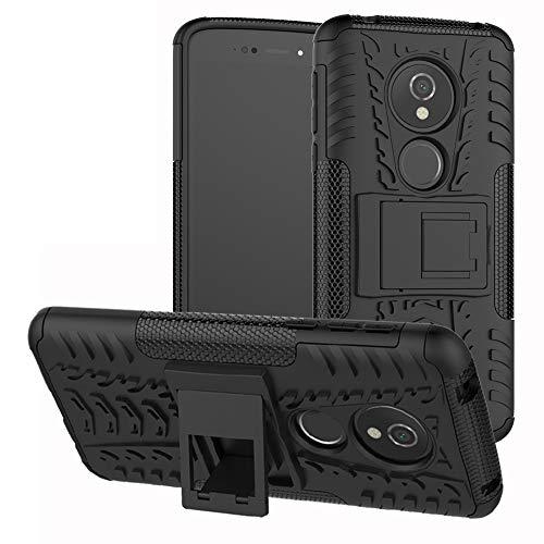 LFDZ Moto E5 Tasche, Hülle Abdeckung Cover schutzhülle Tough Strong Rugged Shock Proof Heavy Duty Hülle Für Motorola Moto E5 / G6 Play Smartphone (mit 4in1 Geschenk verpackt),Schwarz