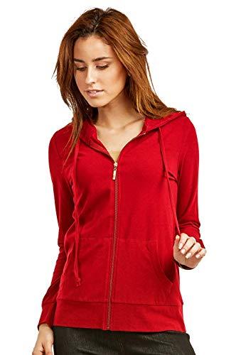 Women's Thin Cotton Zip Up Hoodie Jacket (L, RED)