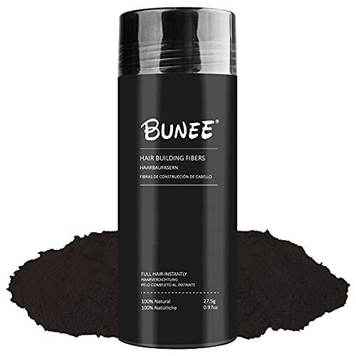 Fibras Capilares Bunee - Disimula la Falta de Pelo al Instante - Microfibras de Keratina en Polvo 100% Natural para Hombre y Mujer (Castaño Oscuro 27.5g)