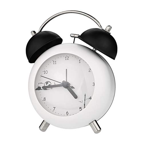 "Pilife 4"" Cute Cartoon Alarm Clock for Kids,Loud Twin Bell Alarm Clocks for Heavy Sleepers, White Vintage Clock(Panda Character)"