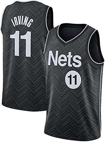 YCJL Camiseta De Baloncesto para Hombre De La NBA, Brooklyn Nets 11# Camisetas De Baloncesto De Kyrie Irving, Chaleco Sin Mangas Swingman, Ropa Superior,Negro,XXL