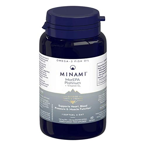Minami - MorEPA Platinum - Omega 3 Fish Oil - Super High EPA & DHA Formula + Vitamin D - Helps Maintain Healthy Heart, Blood Pressure and Muscle Function - 60 Softgels