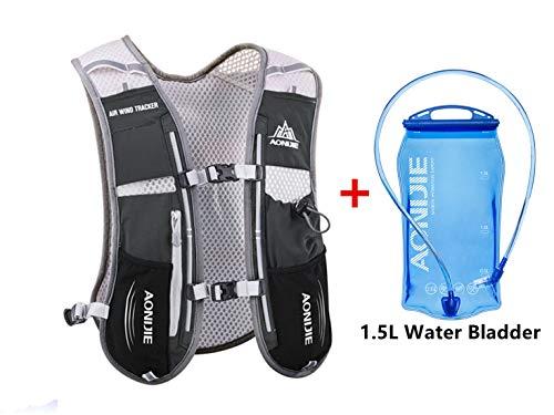 Win.Deeper 5L Ultraleicht Trinkrucksack Trail Rucksack Trinkweste, Hydration Pack Fahrradrucksack für Laufen, Camping, Wandern, Marathoner (Schwarz mit 1.5L Waterblase)