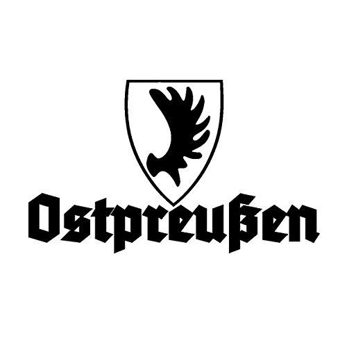 Copytec Aufkleber/Sticker Ostpreußen Wappen Elch Elchschaufel Auto Altdeutsch 15x9cm schwarz #A568