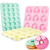 Senbowe Silicone Muffin and Cupcake Pans – Set of 3 | Cake Molds | Large (12) and Mini (24) |Medium (9) |Macarons colors Easy to Clean Non Stick Bakeware | BPA Free and Dishwasher Safe