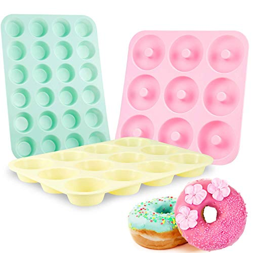 Senbowe Silicone Muffin and Cupcake Pans – Set of 3   Cake Molds   Large 12 and Mini 24  Medium 9  Macarons colors Easy to Clean Non Stick Bakeware   BPA Free and Dishwasher Safe