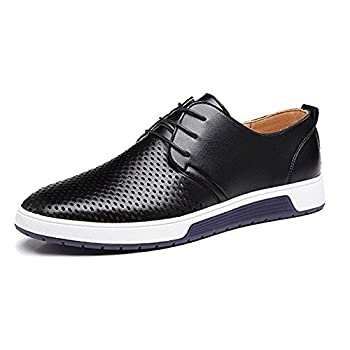 JACKY S Merkmak 2018 Men Casual Shoes Leather Summer Breathable Holes Luxury Brand Flat Shoe  Men s 13.5-14 / Women's 15.5-16 Black