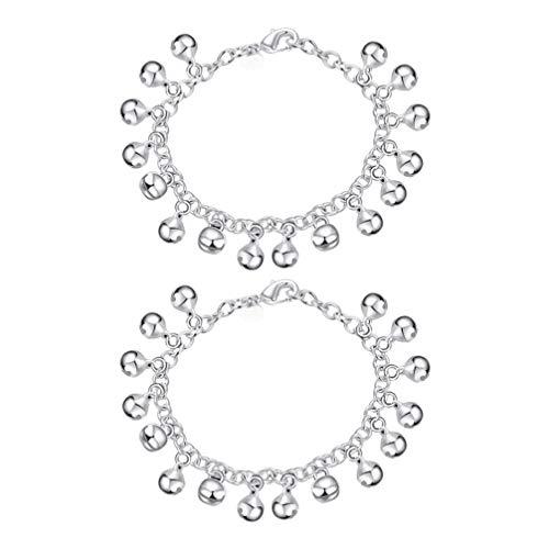 Toyvian 2 pezzi di gioielli regolabili moda bracciali jingle bells regolabili per donna donna ragazze