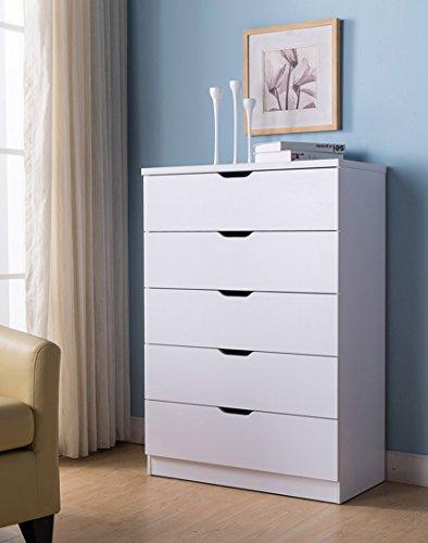 Smart Home K16085 Dresser for Bedroom, 5 Drawer Chest Dresser, White Color, Organizer for Bedroom