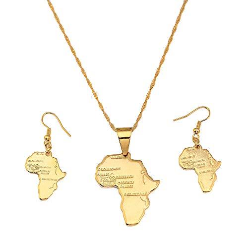 QAZQAZ Collar y pendientes de latón de color oro de 24 quilates, diseño de mapa africano, para mujeres de África, boda, fiesta, collar con colgante de mapa, regalo para hombres y mujeres