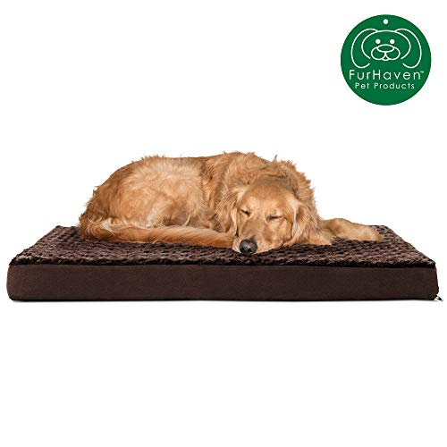 FurHaven Pet Dog Bed | Deluxe Orthopedic Mattress Pet Bed for Dogs & Cats, Espresso, Large