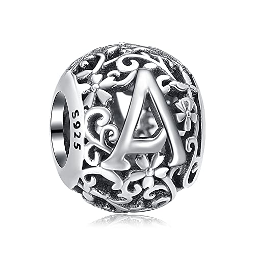 Annmors Lettera A Charms 925 Sterling Silver Alphabet Bead per Bracelets Spell Your Word