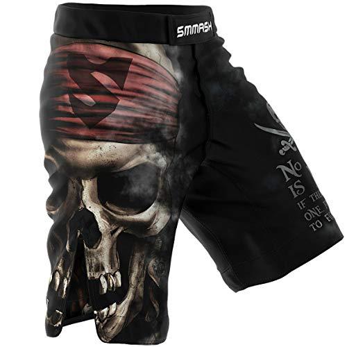SMMASH Pirates Off MMA Herren Sport Shorts für Boxen, Kampfsport, MMA, UFC, Training Sporthose Kurz für Männer, Crossfit Trainingshose Atmungsaktiv und Leicht, Hergestellt in der EU (XL)