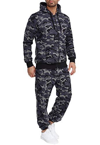 EGOMAXX Herren Jogginganzug Einfarbig Basic Sportanzug2-TeiligTrainingsanzug Baggy Pants Hosen & Sweat Hoodie, Farben:Dunkelgrau-3, Größe Hosen:M
