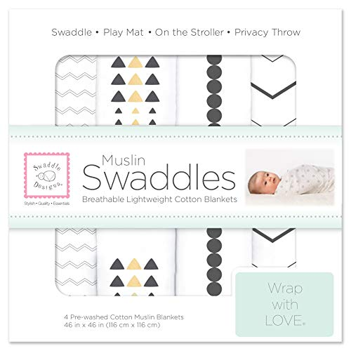 SwaddleDesigns Cotton Muslin Swaddle Blankets, Set of 4, Gold & Graphite