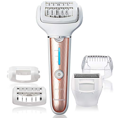 Panasonic, Cordless Shaver Epilator For Women With 5 Attachments Gentle WetDry Hair Removal for Legs Underarms Bikini Face ESEL7AP, White, 1 Count