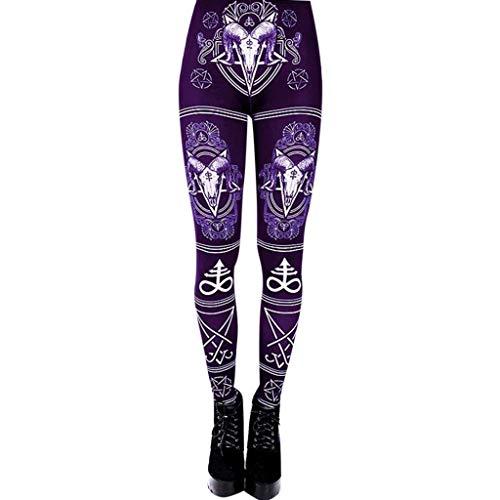 WOZOW Damen Leggings Gamaschen Punk Totem Pattern Print Druck Ethnic Cool Dünn Skinny Stretch Trousers High Waist Slim Lang Long Sport Hose Yoga Stoffhose (L,Lila)