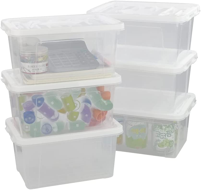 Kiddream Challenge the lowest price Set of 6 Clear Plastic Latch Han Box Bins Storage Max 63% OFF with