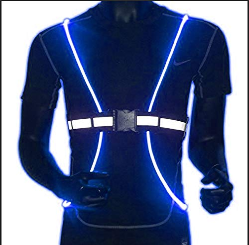 Gortin Illuminated Reflective Vest LED Fiber Optic Night Running and Night Riding Safety Vest Night Safety Gear Adjustable for Men and Women (Blue)