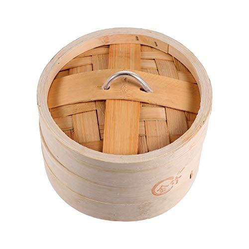 Doitool Vaporizador de Alimentos de Bambú de 13 Cm Cesta para Cocinar Al Vapor Bollo de Arroz con Bola de Masa Hervida China Dim Sum Vaporizador con Tapa Accesorios para Utensilios de