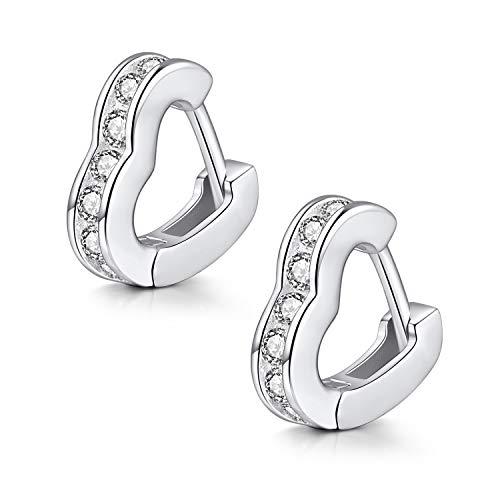 LDUDU Orecchini a cerchio da donna con zirconi, in argento Sterling, regalo di compleanno, Natale, San Valentino, amore