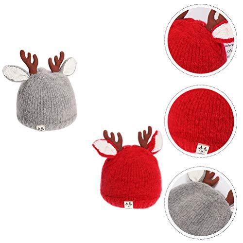 BESPORTBLE 2pcs Christmas Baby Beanie Reindeer Antlers Hat Earflap Knit Warm Winter Crochet Knitted Cap for Boys Girls Infant Newborn Toddler