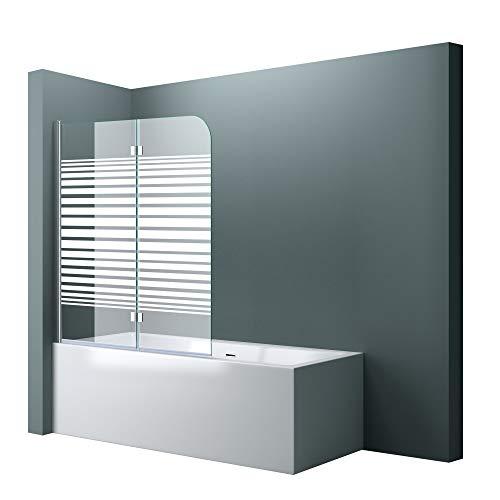 Sogood paroi de baignoire 120 x 140 cm pare baignoire 2 volets verre trempé 6mm avec bandes opaque côté gauche Cortona1408S
