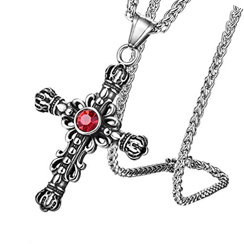 Holibanna Vintage Cross Necklace Acero Inoxidable Retro Gothic Cross Pendant Necklace Antiqued Red Zirconium Diamond Neck Pendant Ornament with Rope Cadena para Hombres