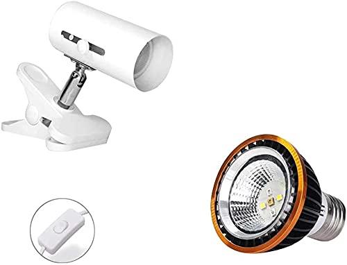 TYSJL Kit de luz de Reptil, luz de Faro de Metal Universal, iluminación de hábitat Ajustable y Luces de calefacción, adecuadas para Tortugas, lagartos y Serpientes (Color : White, Size : UVB 10.0)