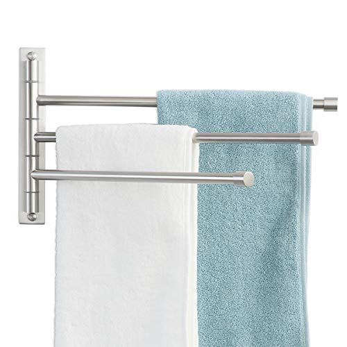 GLENNOR Swivel Towel Bar, SUS304 Stainless Steel Swing Out Towel Rack Brushed Finish Wall Mounted Space Saving Bar