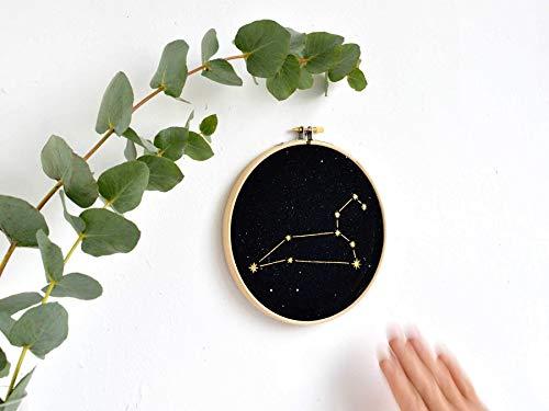 renna deluxe Sternzeichen LÖWE in Gold, Druck Bild im Stickrahmen Wandbild Wandbild Wanddekoration Kunstdruck rundes Bild